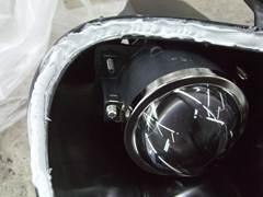 加工ヘッドライト 殻割り 防水処理 コーキング11