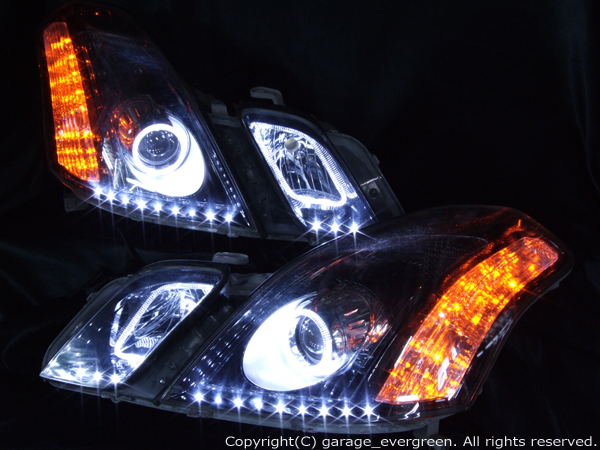 ワンオフヘッドライト加工 110系マークⅡブリット後期 4連LEDイカリング&アンダーラインLED