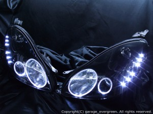 HID付■ブラック UZZ40系ソアラ■LED&イカリング ヘッドライトEG