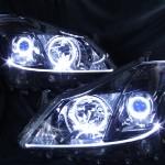 200系 クラウン ハイブリット アンダーラインアクリルファイバー加工&LEDイカリング&ブラッククロム ヘッドライト