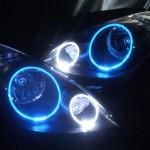 E11 ノート ブルー&ホワイトLEDイカリング ヘッドライト