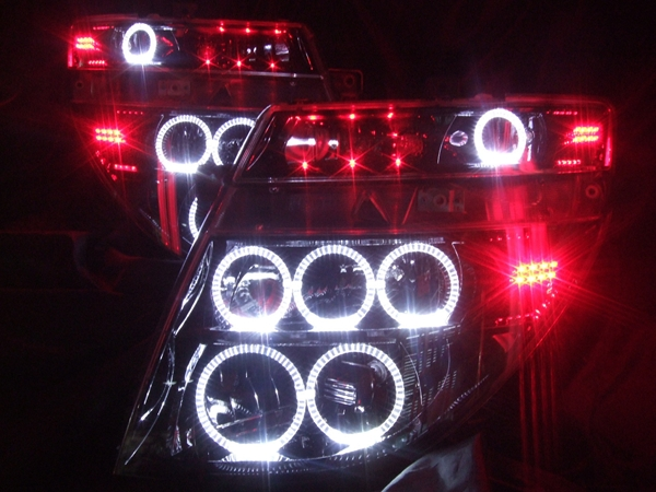 E51 エルグランド 前期 ブラック&12連LEDイカリング&レッドLED ヘッドライト
