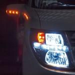 E51 エルグランド 後期 Lowリフレクターベース ブラック&LEDイカリング ヘッドライト