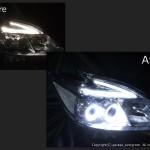 ZVW30 プリウス 後期 LEDロービームポジション白色打替え&LEDイカリング ヘッドライト