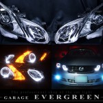 レクサス GS 前期/後期4連LEDイカリング&オレンジLED増設&ブラッククロム ヘッドライト