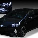 NHP10 アクア AQUA ハロゲン車 ブラッククロム&LEDイカリング ヘッドライト