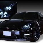 R35 GT-R 前期/中期 Wプロジェクター&CCFLイカリング&LED&ブラック ヘッドライト
