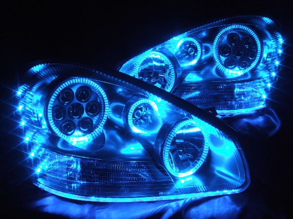 GF50/GNF50 50系シーマ 4500cc 前期 ブルーLEDイカリング&ブルーアンダーラインLED ヘッドライト