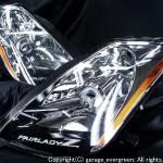 Z33 フェアレディZ 前期 スワロスフキーロゴプレート&LEDイカリング ヘッドライト
