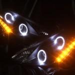 Z50 ムラーノ 艶消しマットブラック&LEDイカリングサイドオレンジ ヘッドライト