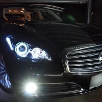 ブラック■HID付 Y51フーガ/シーマ イカリングLEDヘッドライトEG