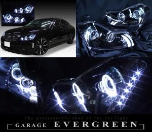 美品■8000K付Y50フーガGT■白色LEDイカリングHIDヘッドライトEG