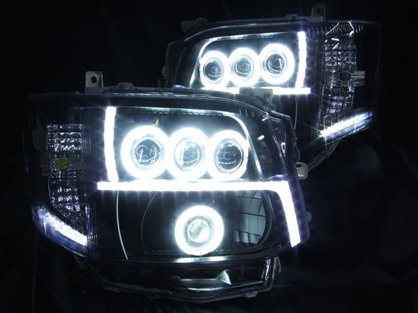 200系 ハイエース3型アクリルレーザーカット加工&LS3連プロジェクター&バイキセノンプロジェクター&ブラック&CCFLイカリング ヘッドライト