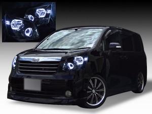 美品■ZRR70系ノア前期 ブラックLEDイカリングHIDヘッドライトEG