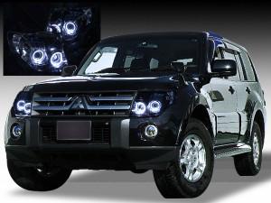 美品■HID付V83W/V93W/V8#V9#パジェロ イカリングヘッドライトEG