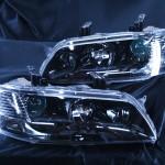 CT9A ランサーエボリューションⅦ・Ⅷ・Ⅸ (ランエボ7/8/9) CT9W ランサーエボリューションワゴン ウィンカークリア&インナー塗装ブラッククロム ヘッドライト