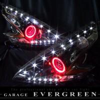 ★Z34フェアレディZ★ブラック&イカリング4連装&増設高輝度LED インナーブラッククロム 仕様 レンズクリーニング・コーティング済み オーダー加工ドレスアップヘッドライト