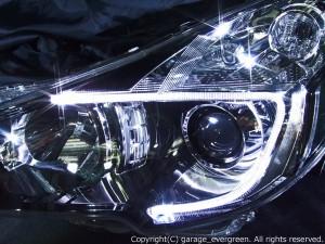 ★BM/BR レガシィ後期★白色LEDイカリング2連装仕様 レンズクリーニング・コーティング済み オーダー加工ドレスアップヘッドライト