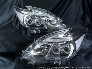 ZVW30系 プリウス 後期 LEDロービームヘッドライト 純正新品ベース加工品 4連白色LEDイカリング&ポジション同色打ち替え 仕様