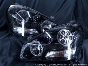50シーマ 前期 バルカン ヘッドライト 純正HID バーナー・バラスト付き 限定色ブラックアウト&白色イカリング&高輝度LED26発 仕様