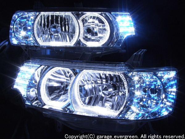 L350S系 タントカスタム ブルー・ホワイトLED&イカリング ヘッドライト
