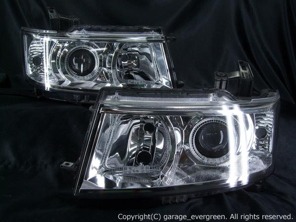 MH22S系 ワゴンR スティングレー 純正HID車用ベース 4連イカリング&高輝度LED増設仕様 ヘッドライト