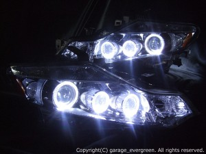 Z51 ムラーノ ヘッドライト 純正HID バーナー・バラスト付 高輝度LED6連イカリング 仕様