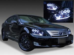 レクサスLS600h中期■色替え済ブラックイカリングヘッドライトEG
