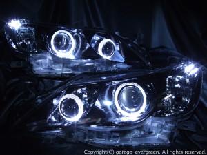 美品■130系マークX前期 ブラック&LEDイカリング ヘッドライトEG