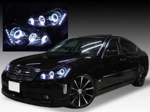 美品■HID付Y50フーガGT■ブラック&LEDイカリングヘッドライトEG