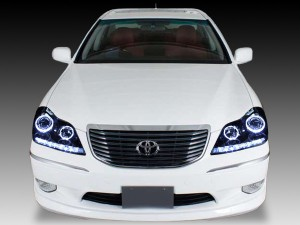 18系 クラウンマジェスタ ドレスアップヘッドライト <純正加工品 純正HIDバーナー・バラスト付>インナーブラッククロム&4連イカリング&増設LED 仕様 d-264