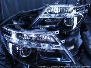 C26系 セレナ 後期 LEDロービーム車用 <ポジション 白色LED色替え> 純正加工品 ブラッククロム&LEDイカリング&色替え&増設LED 仕様