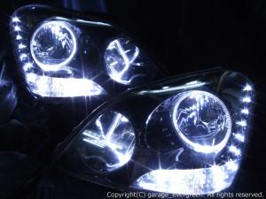 UCF30/UCF31 セルシオ 前期 ドレスアップヘッドライト純正加工品<限定色 ブラッククロム>HID付きインナーブラック&イカリング4連装&増設24発高輝度LED 仕様