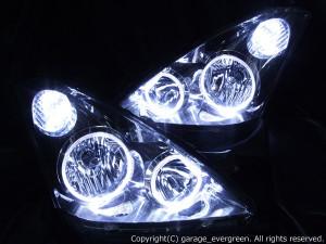 ■純正HID付■ ZNE/ANE 10系 ウィッシュ 前期 純正インナーブラックメッキ仕様 4連イカリング&増設白色LED ドレスアップヘッドライト