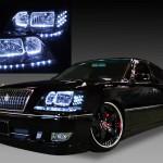 17 クラウン マジェスタ LEDイカリング&ブラック&白LED ヘッドライト