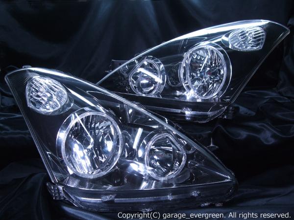 トヨタ ZNE10系/ANE10系 ウィッシュ 前期 純正HID車用 純正ドレスアップヘッドライト 4連LEDイカリング&高輝度白色LED10発増設