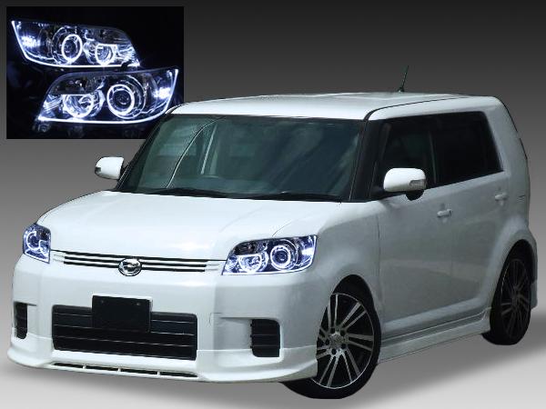 トヨタ E15系 カローラルミオン 前期/後期 純正HID車用純正ドレスアップヘッドライト 純正ブルーメッキインナー 4連LEDイカリング&高輝度白色LED12発増設&LEDアクリルイルミファイバー