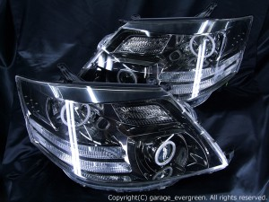 10系アルファード後期 4連CCFLイカリング&高輝度LED28発 カスタムヘッドライト AS/MS純正ブラックメッキインナーベース