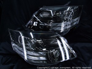 10系アルファード後期 4連白色イカリング&高輝度LED28発 LEDヘッドライト AS/MS純正ブラックメッキインナーベース