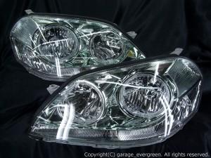110系マークⅡ後期 ヘッドライト 純正HID バーナー・バラスト付 4連白色LEDイカリング&ウィンカークリア 仕様