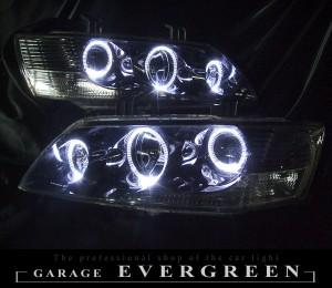 ★ランサーエボリューション ランエボ7・8・9★高輝度白色LEDイカリング6連装 インナーブラッククロム塗装仕様 レンズクリーニング・コーティング済み オーダー加工ドレスアップヘッドライト