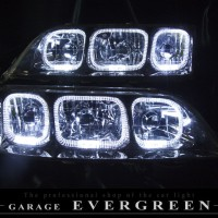 ★100系マークⅡ★高輝度白色LEDイカリング6連装 レンズクリーニング・コーティング済み オーダーLED加工ドレスアップヘッドライト
