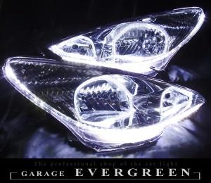 ★30エスティマ前期★イカリング4連装&増設高輝度LEDライン仕様 レンズクリーニング・コーティング済み オーダーLED加工ドレスアップヘッドライト