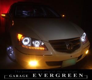 ★KB1 レジェンド★高輝度橙色LED&イカリング4連装 社外プロジェクターインストール仕様 レンズクリーニング・コーティング済み オーダー加工ドレスアップヘッドライト