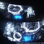 ★デリカ D:5★イカリング4連装&増設高輝度白色LED&青色LED レンズクリーニング・コーティング済み オーダーLED加工ドレスアップヘッドライト