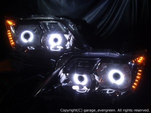 ★C26セレナ前期★白色CCFLイカリング4連装&高輝度橙色LED&インナーブラッククロム塗装 社外ダブルプロジェクターインストール仕様 レンズクリーニング・コーティング済み オーダー加工ドレスアップヘッドライト 20130117-c26selena5