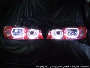 ★R34スカイライン前期★白色LEDイカリング4連装&インナー指定色塗装 社外プロジェクターインストール仕様 レンズクリーニング・コーティング済み オーダー加工ドレスアップヘッドライト