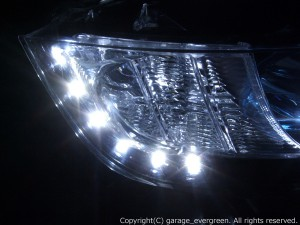 ★RB1/2 オデッセイ 前期★イカリング4連装&増設高輝度白色LED&橙色LED レンズクリーニング・コーティング済み オーダーLED加工ドレスアップヘッドライト