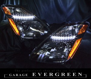 ★20系プリウス★ブラック&増設高輝度LED インナーブラッククロム塗装 北米仕様ベース レンズクリーニング・コーティング済み オーダー加工ドレスアップヘッドライト