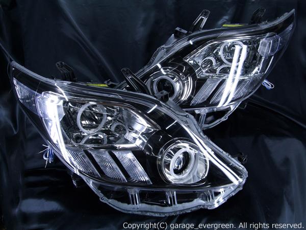 20/25系 アルファード 前期/後期 AFS無 後期ベース 純正ブラックインナー 4連CCFLイカリング&高輝度LED増設 ヘッドライト